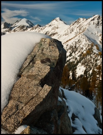 snow on Carne Mountain's summit ridge