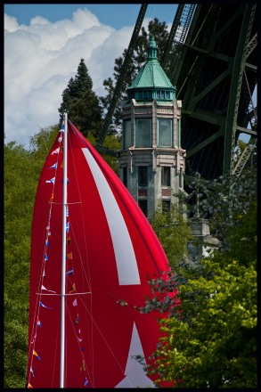 the Montlake Bridge lifts for the Opening Day Parade
